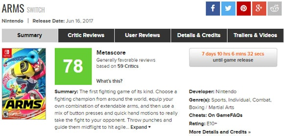 metacritic-ARMS SWITCH