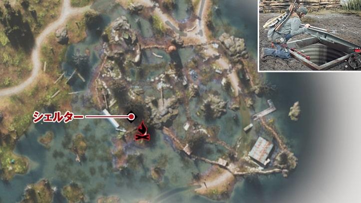 ベアベイのシェルターの場所マップ