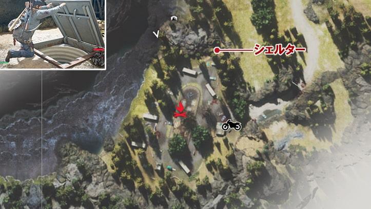 シェルターの場所マップ