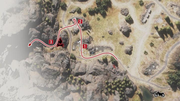 襲撃キャンプ殲滅・ブラッククレイターの攻略順マップ