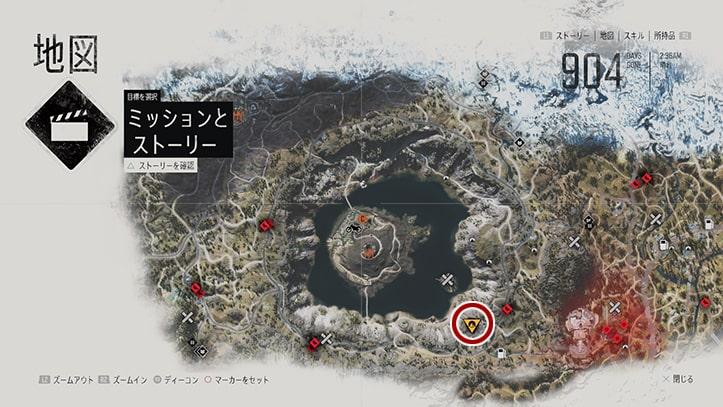 デイズゴーンの『俺は何もしてない』のミッション攻略手順のマップ