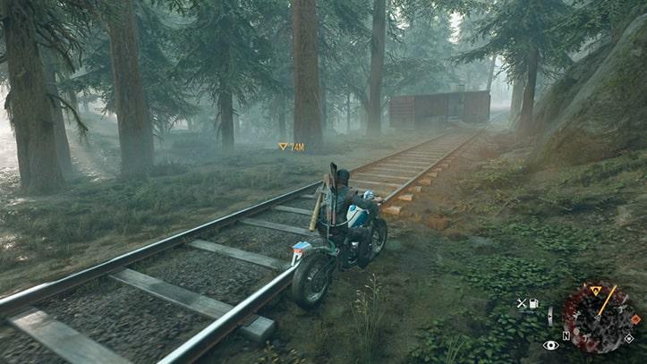 バイクで野盗のキャンプ地まで向かう様子