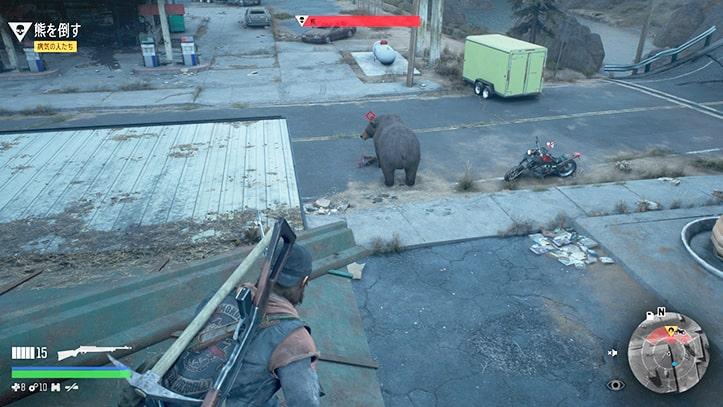 熊を屋根上から発見しているシーン