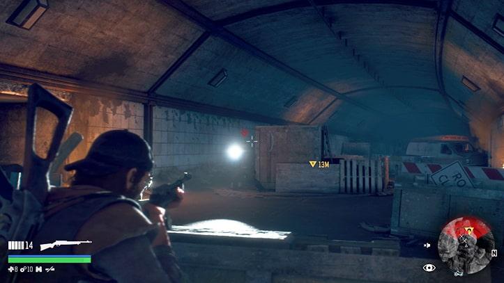 トンネルでの野盗とのバトルシーン