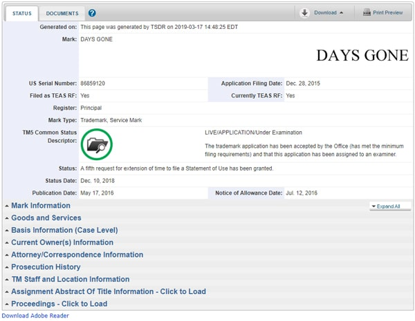 Days Goneの商標登録