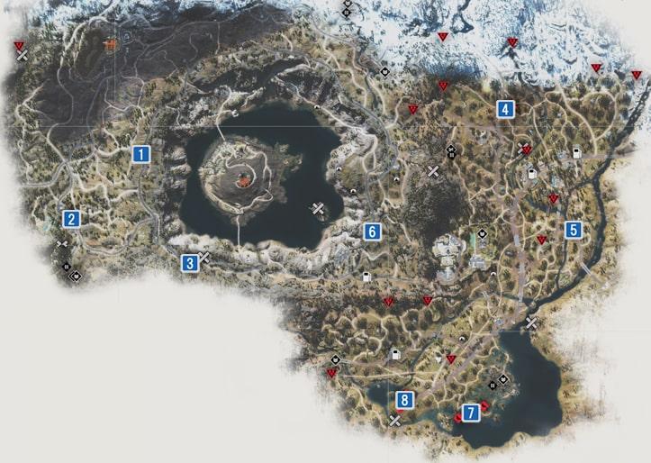 クライアーの巣の場所のマップ