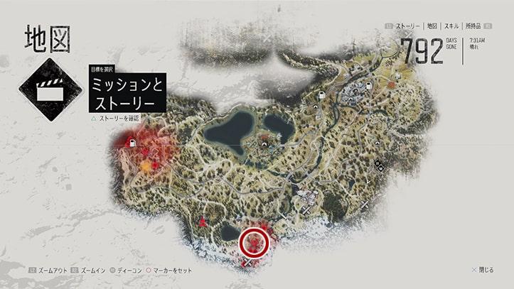 デイズゴーンの『バリーレイク』のミッション攻略手順のマップ