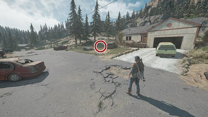 転倒したバイクの場所