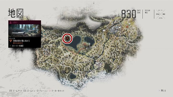 目的地のメトリウス川の場所マップ