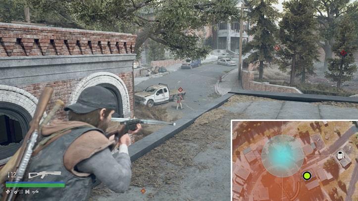 屋根の上から野盗を始末するシーン