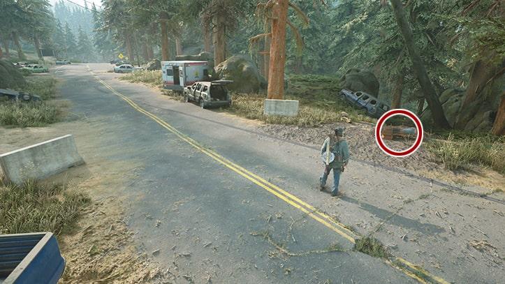 痕跡の残るバイクの場所