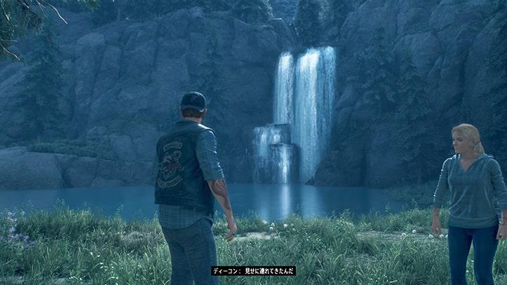 ディコンとサラが滝を見る光景