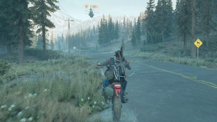 バイクでNEROのヘリコプターを追うディーコン