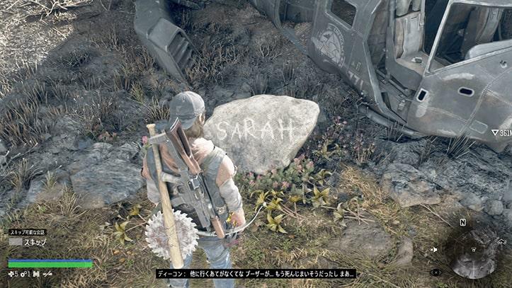 サラの墓標で近状を報告するディーコンの画像