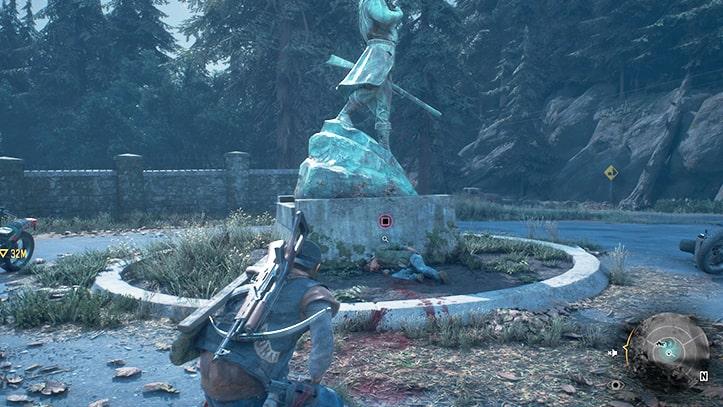 銅像下の血痕痕の画像