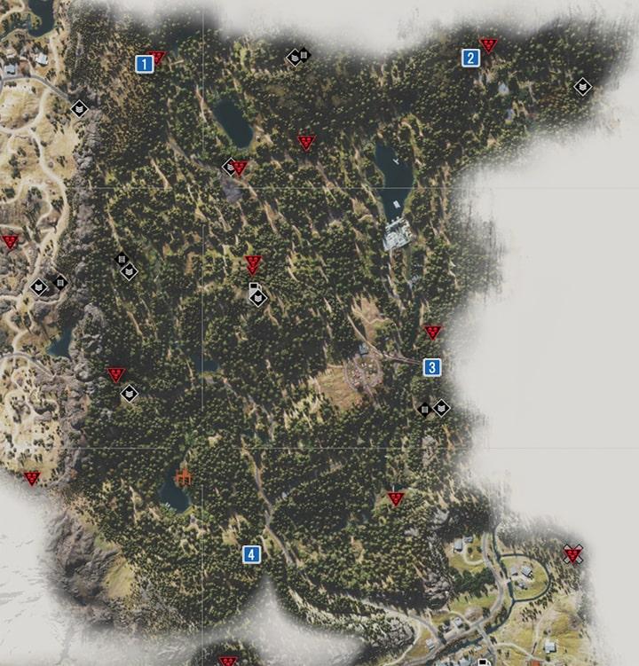 カスケード地方にあるNEROの調査現場のマップ