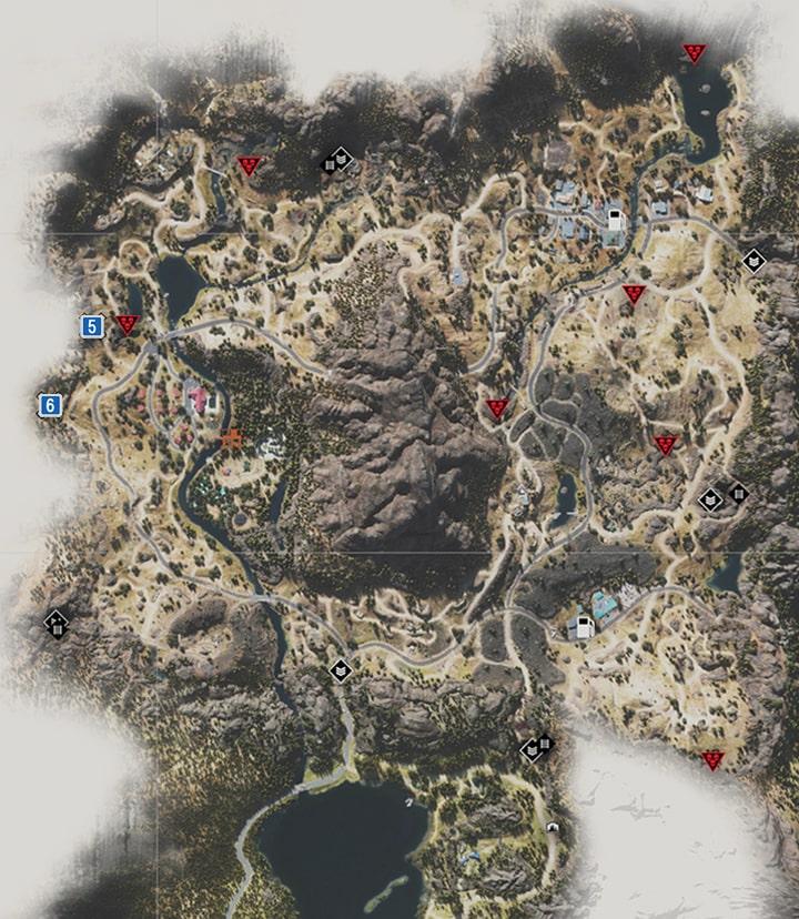ベルナップ地方にあるNEROの調査現場のマップ
