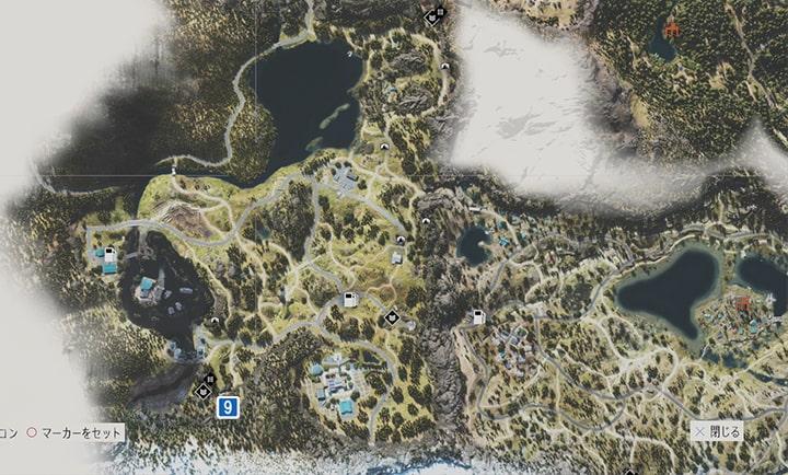 アイアンビュート地方にあるNEROの調査現場のマップ
