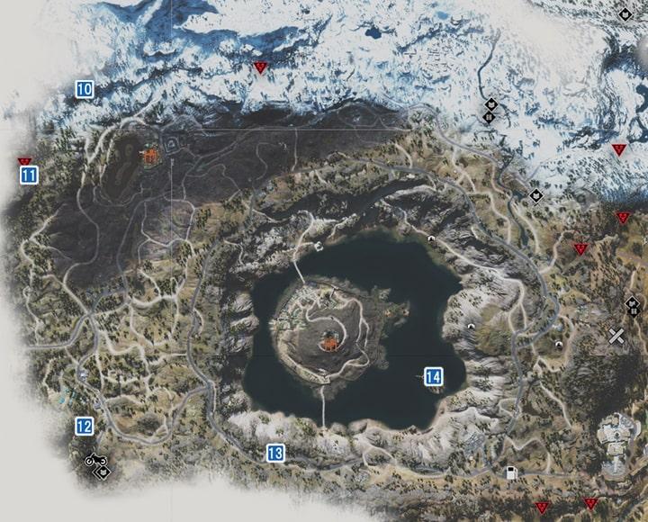 クレイターレイク地方にあるNEROの調査現場のマップ