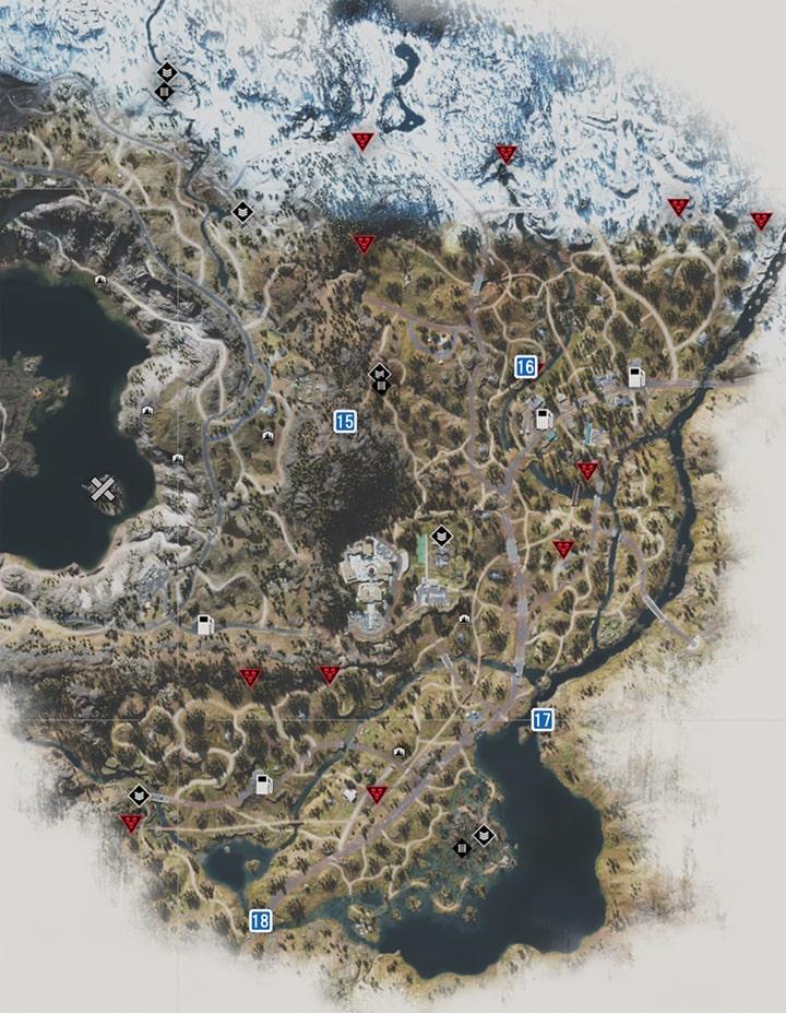 97号線地方にあるNEROの調査現場のマップ