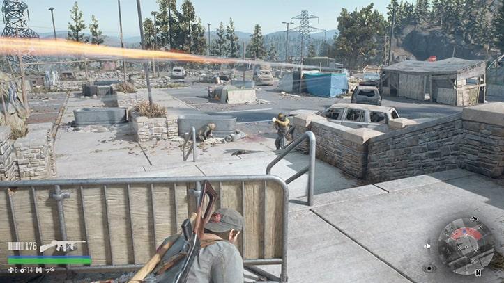 駐車場で野盗と戦うシーン
