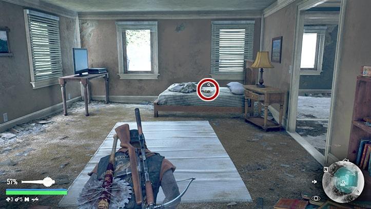 ベッド上のビール瓶の場所