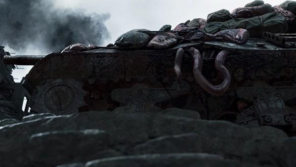 デスストランディングのカットシーンの戦車
