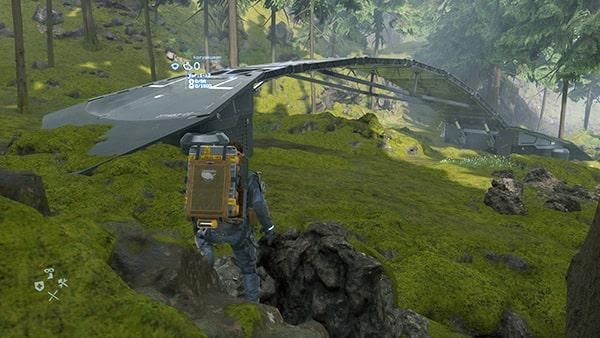 森に橋を架けてるシーン