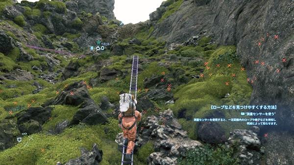 山岳の梯子とロープのエリア
