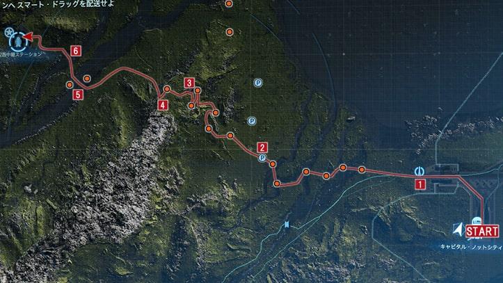 サム指名依頼No.4『K2西中継ステーションへ スマート・ドラッグを配送せよ』の攻略マップ