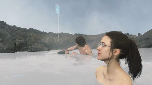 サムとママーが温泉に入るシーン