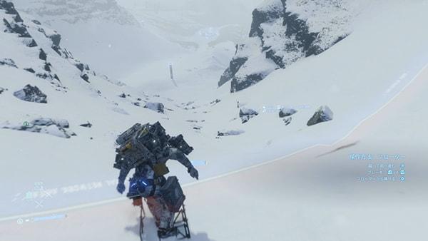 フローターで雪山を下るサム