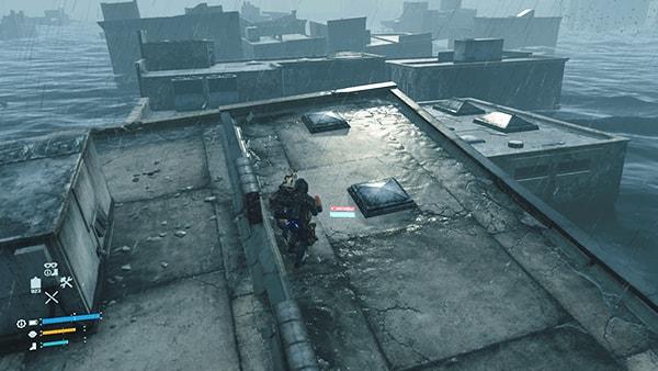 建物の屋根を進むシーン