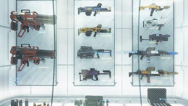 武器棚に飾られたチャージ式ハンドガン