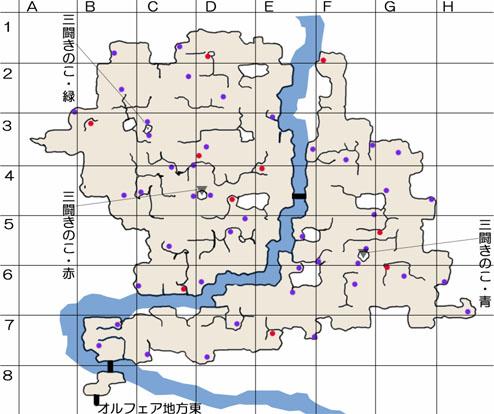 ポポリアきのこ山のマップ