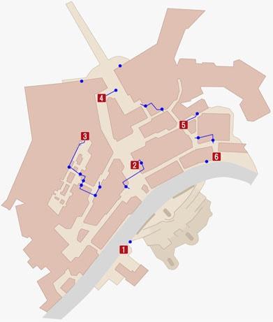 敵を暗殺してカードキーを手に入れる場所のマップ