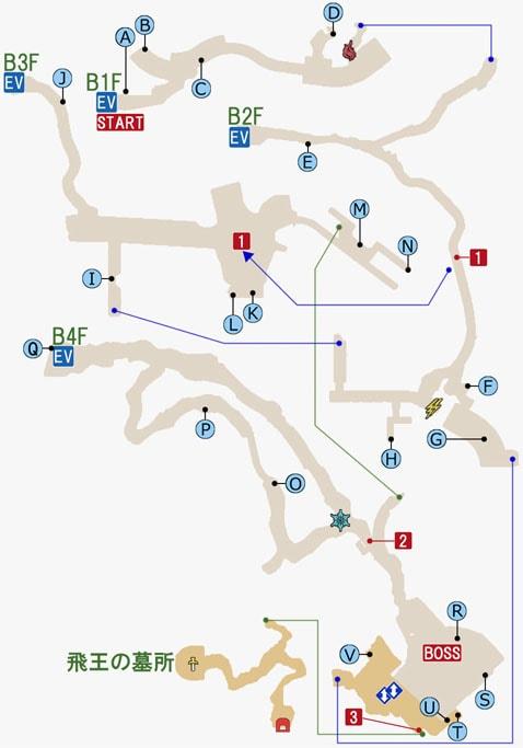 バルーバ採掘場跡のマップ