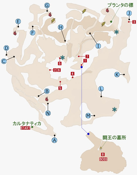 FF15のケスティーノ鉱山のマップ