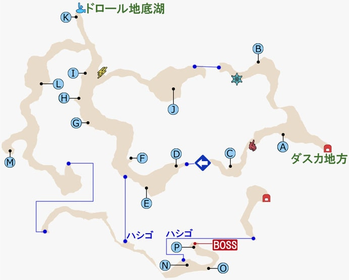 FF15・ドロール洞窟のマップ