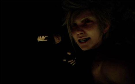 闇の中のノクティスとプロンプト