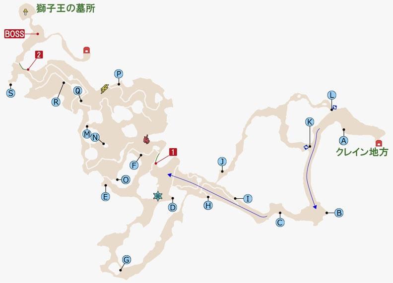 FF15のグレイシャー洞窟のマップ