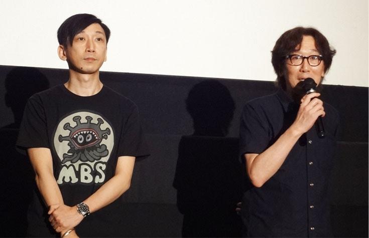 映画館でのディレクター・野末武志氏、脚本・長谷川隆氏の舞台挨拶の様子
