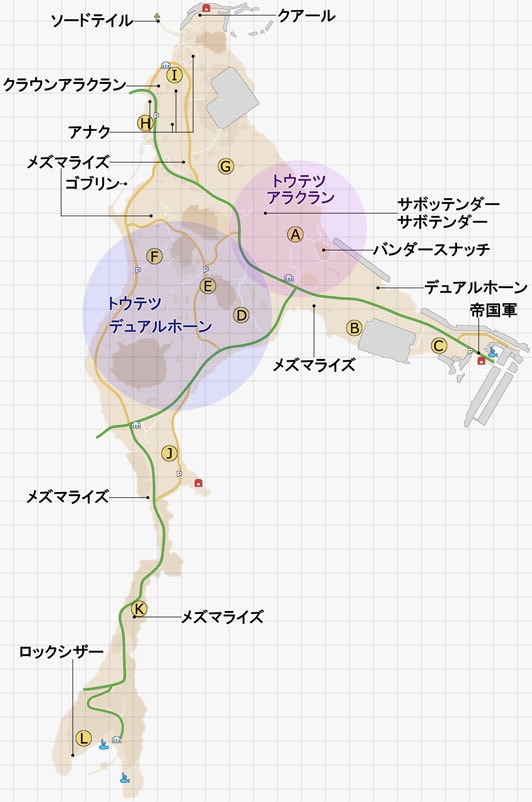 エネミーの出現場所のマップ
