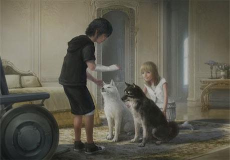 ノクトとルーナ、犬2頭のキーアート