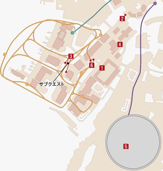 サブクエスト・しあわせのモーグリ六兄弟のマップ