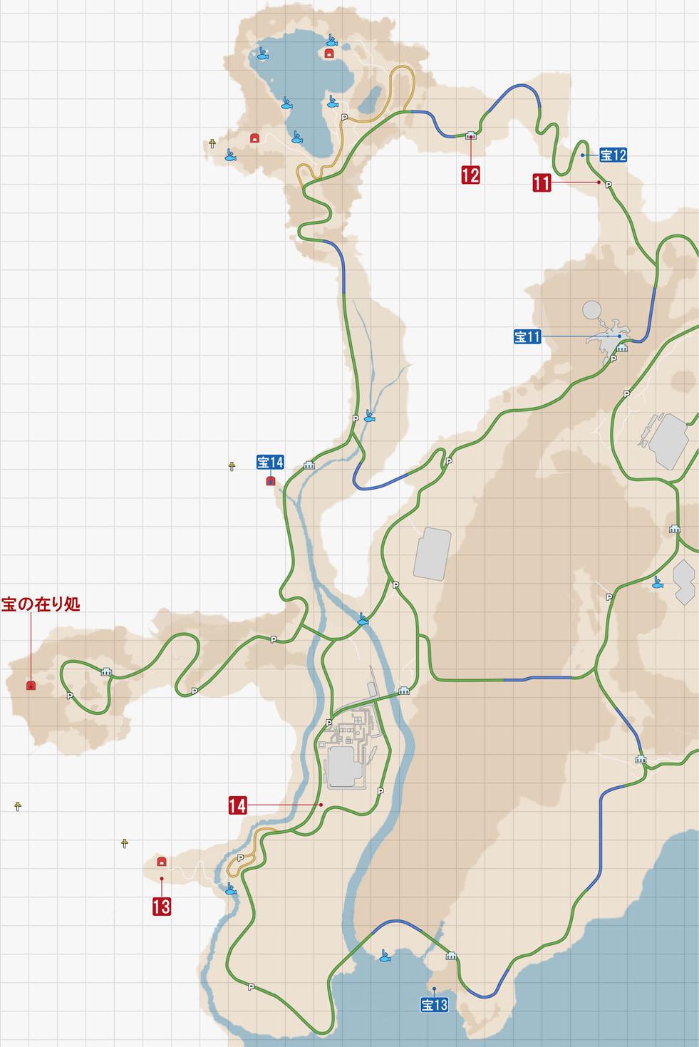 FF15のサブクエスト『謎めいた紙片』・クレイン地方のマップ