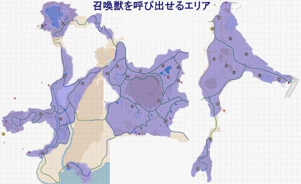ラムウを召喚できるエリアのマップ
