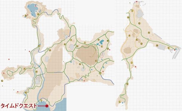 タイムドクエストの発生場所のマップ
