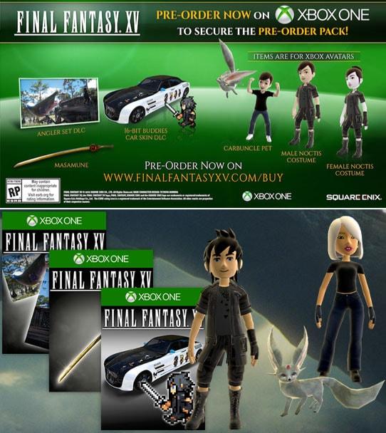 Xbox MarketplaceにおけるFF15の予約特典、FF15オリジナルアバター