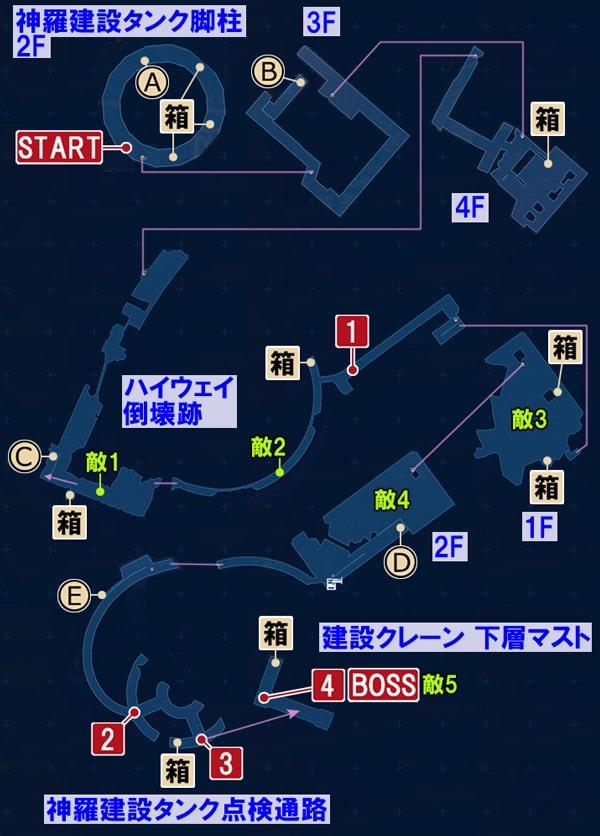 FF7リメイクの銃撃戦 ~ プレートの上への攻略マップ